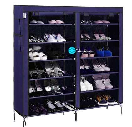 blue two column shoe rack image 1
