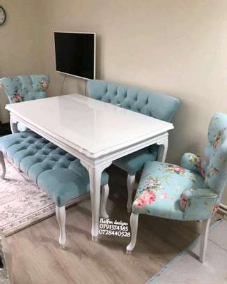 Floral Fabric Dining set designs/six seater dining set image 1