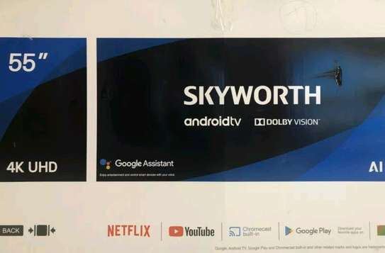 Skyworth 55 UHD 4K Frameless Google Android TV - Silver image 1