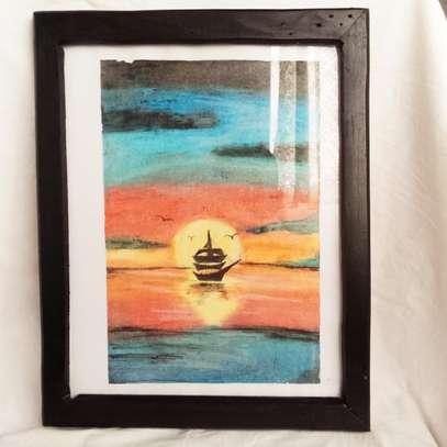 Boat Sailing in the Sunset Portrait image 1