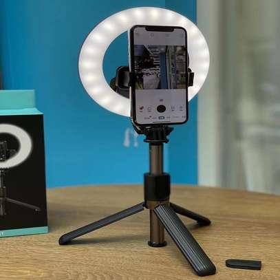 L07 Portable 16cm LED Ring Light Bluetooth Selfie Stick Tripod image 1