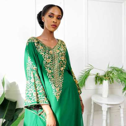 Jungle green Thread work Kaftan