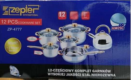12 pieces stainless steel cookware set image 1