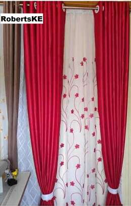 curtains  red flowery with matching sheers image 1