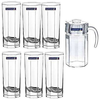 7pcs Luminarc octime water set jug 1.6ltrs, glass 33cl image 1