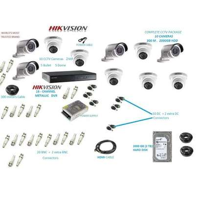 Hikvision 10 CCTV Camera Package 1080px (2MP) - Night Vision Enabled+ 2TB HDD + 200m Cable image 1