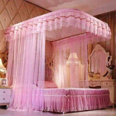 2 Stand Mosquito Net With Sliding Rails- Pink 4*6/5*6/6*6 image 1