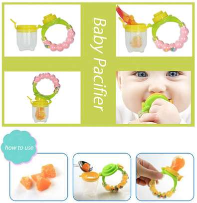 Silicone Baby Fruit Feeder Pacifier with Teething Rattle Toy image 4