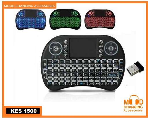 Wireless Mini Keyboard with Touch Pad Mouse and LED Light – Black image 1