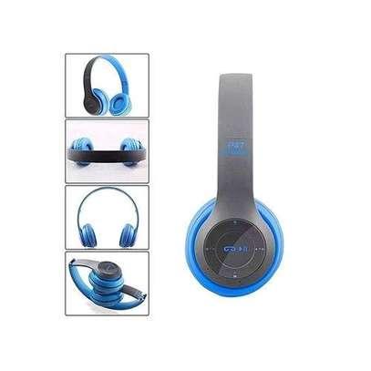 P47 Wireless Earphone Hands Free Music Headset - Blue image 1