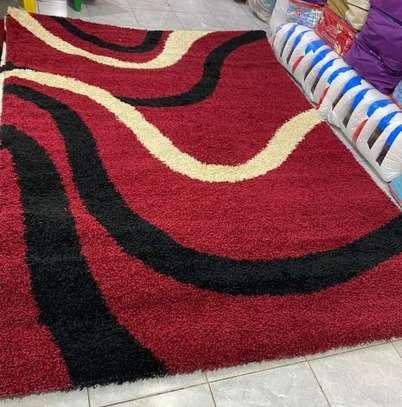 Turkish shaggy carpet maroon image 1
