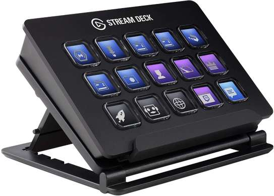 Elgato Stream Deck - Live Content Creation Controller with 15 Customizable LCD Keys, Adjustable Stand, for Windows 10 and macOS 10.11 or later image 1