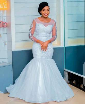Lace detailed wedding gown,