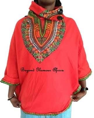 Dashiki Print Red Poncho Super Soft Cotton image 1
