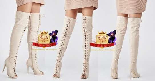 Cream Front Lace Up Thigh High Boots From UK