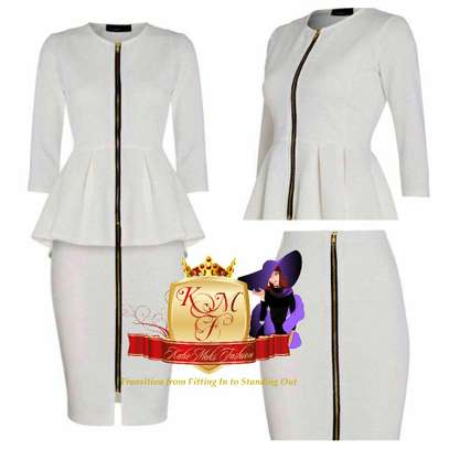 Front Zip Pencil Skirt and Peplum Top Suit image 1