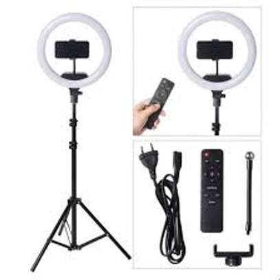 14 inch Diameter Dimmable Continuous Round Ring Light, for Beauty Facial Shoot, Light Stand Tripod, Cell Phone Spring Clip Holder, Camera image 1