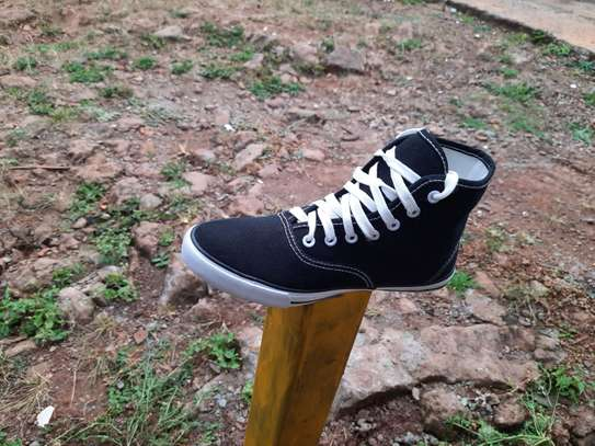Black High Cut Canvas Breathable Rubber Shoes-Black image 1