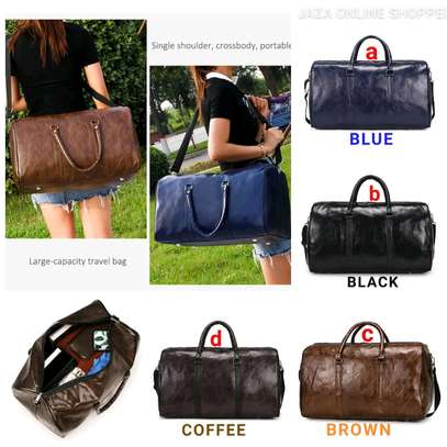 Duffle leather travel bags image 1