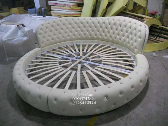 Round tufted beds/modern white beds/unique beds image 1