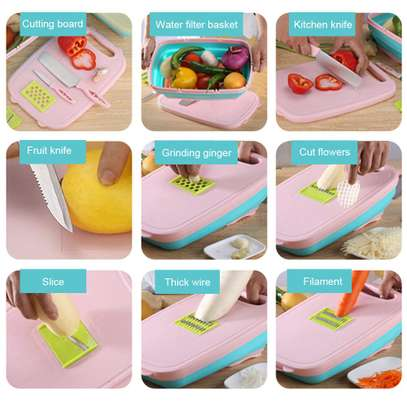 10 in 1 multi~ fuctional  Slicer, 2knives with Collapsable Colander& Chopping Board image 3