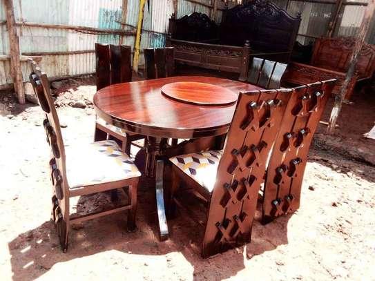 6 seater Oval Mahogany wood dining set image 1