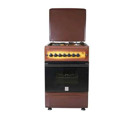 Mika Standing Cooker, 50cm X 55cm, 3 + 1, Electric Oven, Light Brown TDF image 1