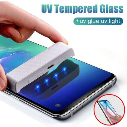UV Light adhesive tempered glass screen protector for Galaxy S7 Edge + LED Kit image 5