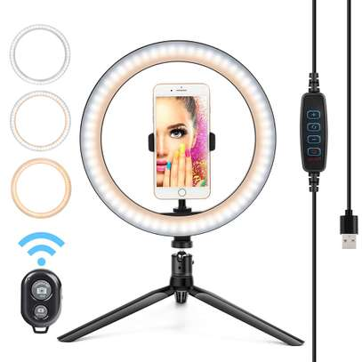 10 Inch LED Ring Light with Tripod Stand, 3 Color Modes and 10 Brightness, Ideal Ring Light for Streaming, Photography Lighting image 4