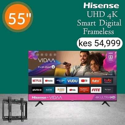 Hisense 55 Inch 4K UHD Frameless Smart LED TV - August sale image 1