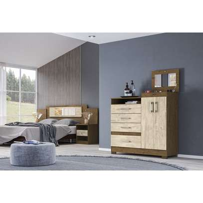 Moval Chest Elegance Dresser 4 Drawers & 2 Doors With Mirror image 3