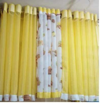 yellow kitchen sheer curtains image 1