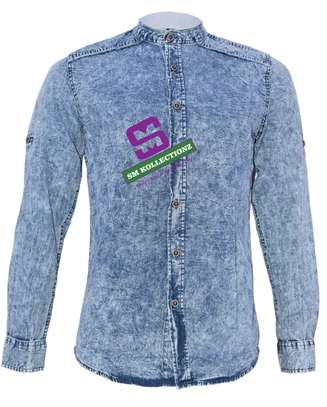 Slim Fit Chinese Collar Denim Shirt