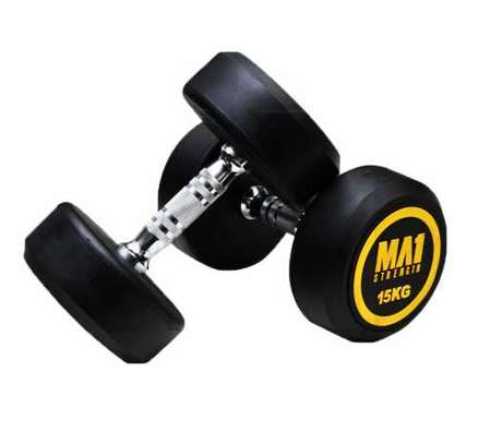 (Hexagon Shaped and Rubber Round Dumbbells Gym Fitness image 5