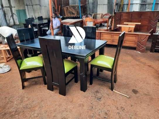 Black rectangular 6 seater dining table sets image 8