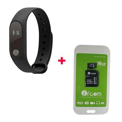 M2 New Smart Health Wrist Bracelet Heart Rate Monitor with Free 16gb Memorycard-Black image 1
