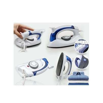 Generic Portable & Foldable Steam Iron Box-White $ Blue image 1