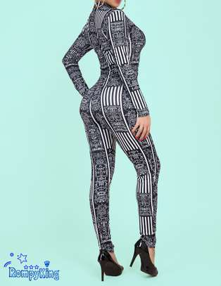 Fashion RK Black Round Neck Zip-up Stretch-African Jumpsuits image 2