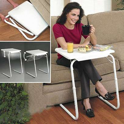 Portable Laptop Table, Side Table Adjustable Height, Coffee Table Laptop Stand Notebook Stand Grooming Table, For Bed, Sofa. image 2