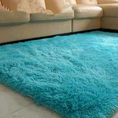 Blue fluffy carpets