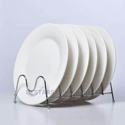 Round White Plain Ceramic Dinner Plate 6pc image 1