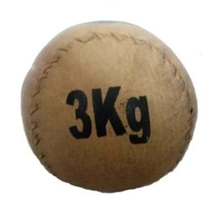 Brown leather medical ball 3kg image 1