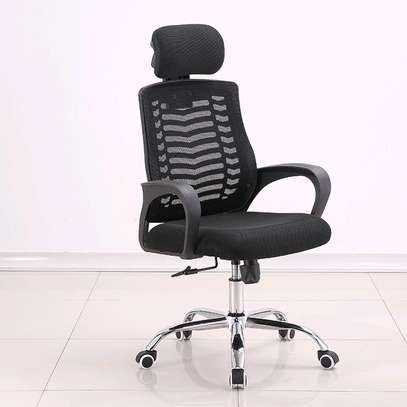 High back rolling office desk chair with headrest and lumbar support image 1
