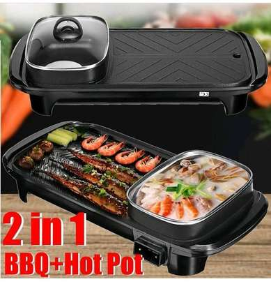 2 in 1 bbq grill with hot pot image 1