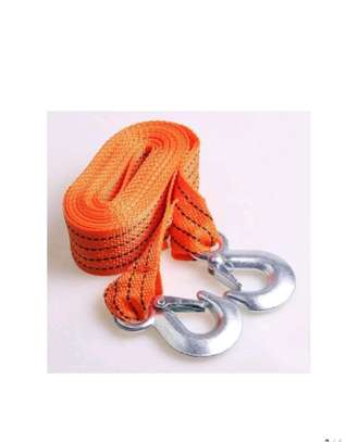 3 Tons 4 Meters Universal Car Trailer Towing Rope Strap Flsorescent Tow Cable with Hooks image 1