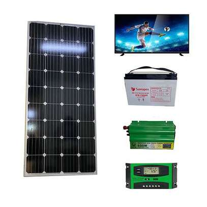 Complete solar pannel kit 150 watts with 32 inches Tv image 1