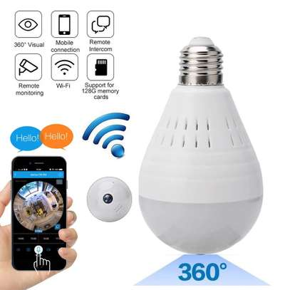 1080P WiFi Camera Light Bulb Panoramic Camera with IR Motion Detection, Night Vision, Two-Way Audio, Cloud Service for Home, Office, Baby, Pet Monitor image 1