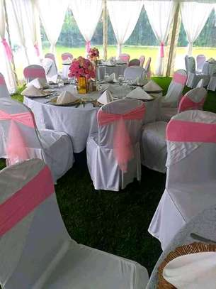 Decorated chairs tents and tables for hire