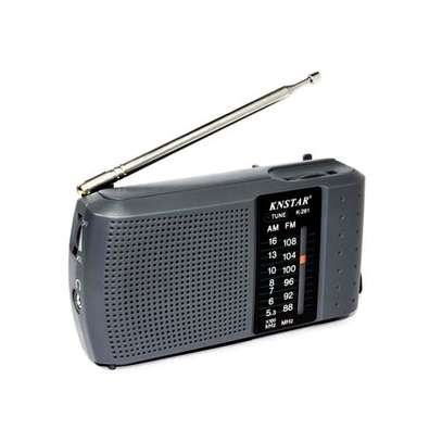 AM/FM Portable Pocket Radio Receiver Hand Strap For Easy Carrying - Grey.