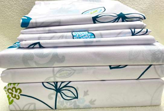 bed sheet cream white with small prints image 1